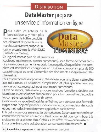 DataMaster : DataMaster dans REPRODUIRE & IMPRESSION, le magazine professionnel de l'éditique