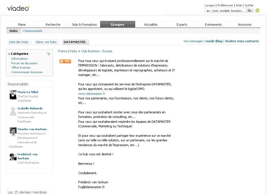 DataMaster : Venez échanger sur le Hub Viadeo de Datamaster