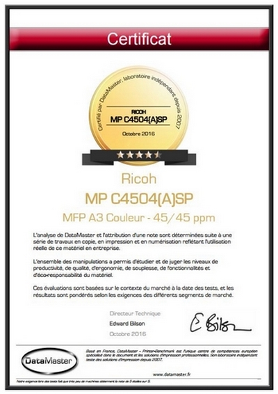 Printer Benchmark : 4.5/5 stars for the latest Ricohs: MP C3504SP and MP C4504(A)SP