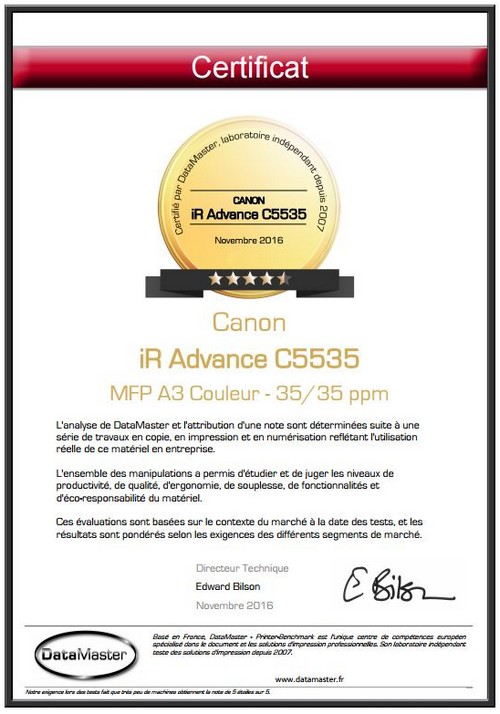 DataMaster : DataMaster Lab. attribue 4,5/5 étoiles à la nouvelle série iR Advance de Canon