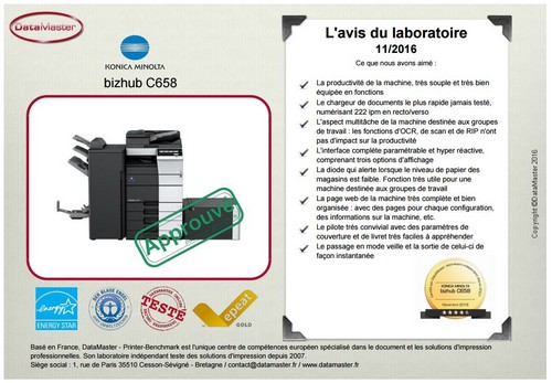 Printer Benchmark : DataMaster Labs gives FIVE stars to the whole range: Konica Minolta Bizhub C458, C558 and C658