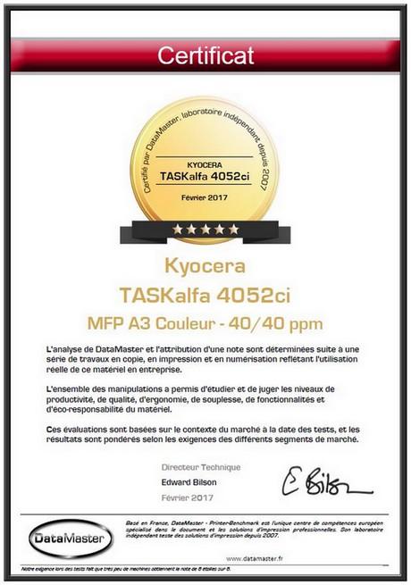 Printer Benchmark : DataMaster Labs gives 5 stars to the Kyocera TASKalfa 2552ci et 4052ci MFPs